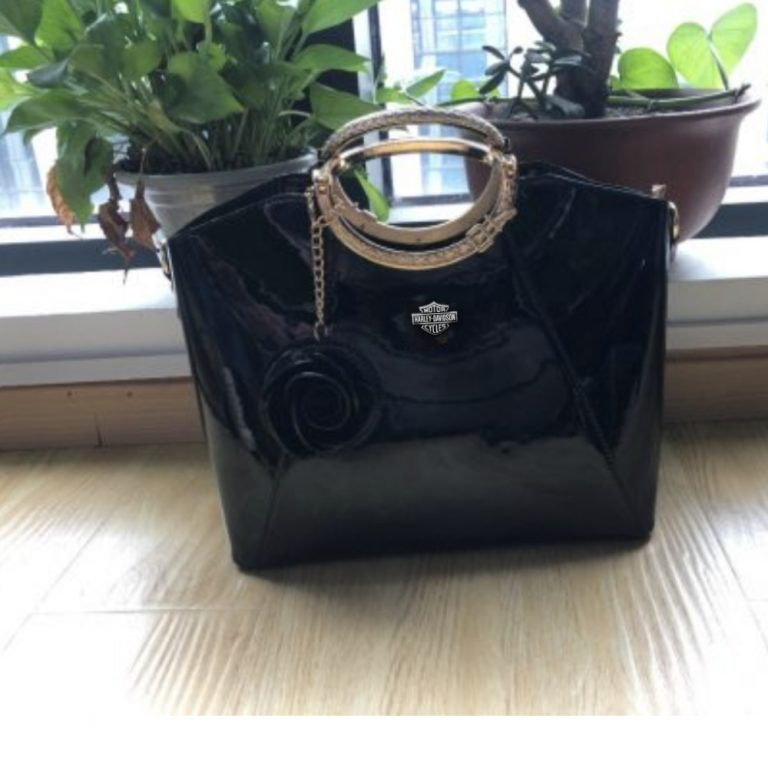 HLD Bright Lacquered Platinum Leather Bag photo review